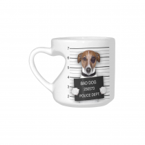 InterestPrint White Ceramic Funny Bad Dog Pug Dachshund In Mugshot Dog Lover Heart-shaped Travel Coffee Mug Cup with Sayings, Best Friends Friendship Mom Funny Birthday Thanksgiving Gifts