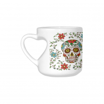 InterestPrint White Ceramic Sugar Skull Floral Flower Heart-shaped Coffee Travel Mug Cup with Sayings, Best Friends Friendship Mom Funny Unique Birthday Thanksgiving Gifts