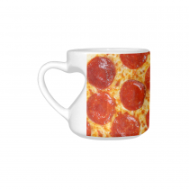 InterestPrint White Ceramic Fresh Italian Classic Pepperoni Pizza Heart-shaped Coffee Travel Mug Cup with Sayings, Best Friends Friendship Mom Funny Unique Birthday Thanksgiving Gifts
