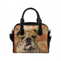 InterestPrint Bulldog Pug Union Jack Vintage PU Leather Purse Handbag Shoulder Bag