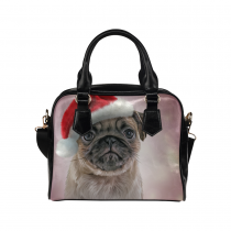 InterestPrint Cute Santa Claus Pug Puppy Christmas PU Leather Purse Handbag Shoulder Bag
