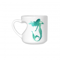 InterestPrint White Ceramic Little Mermaid Fish Ocean Sea Heart-shaped Travel Coffee Mug Cup with Sayings, Best Friends Friendship Mom Funny Unique Birthday Thanksgiving Gifts