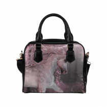 InterestPrint Pink Cherry Blossom Unicorn Women's PU Leather Purse Handbag Shoulder Bag
