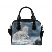 InterestPrint White Unicorn Ocean Women's PU Leather Purse Handbag Shoulder Bag
