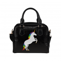 InterestPrint Cute Unicorn Black Women's PU Leather Purse Handbag Shoulder Bag