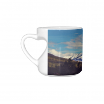 InterestPrint White Ceramic Snowy Mountains Alaska Nature Landscape Heart-shaped Travel Coffee Mug Cup, Best Friends Friendship Mom Funny Unique Birthday Thanksgiving Gifts