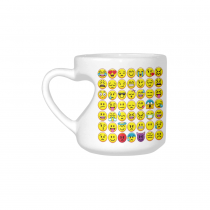 InterestPrint White Ceramic Set of Emoji Emotion Yellow Emoji Face Heart-shaped Travel Coffee Mug Cup, Best Friends Friendship Mom Funny Unique Birthday Thanksgiving Gifts