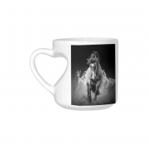 InterestPrint White Ceramic Black and White Wild Horse Running Animal Safari Artwork Heart-shaped Travel Coffee Mug Cup with Sayings, Best Friends Friendship Mom Funny Birthday Gifts