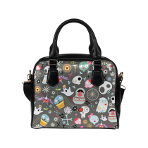InterestPrint Cartoon Sugar Skull Women's PU Leather Shoulder Bag Handbag Purse