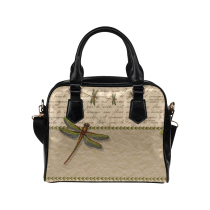 InterestPrint Vintage Dragonfly Women's PU Leather Aslant Shoulder Bag Handbag Purse