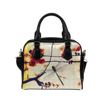 InterestPrint Floral Print Dragonfly Women's And Girl's PU Leather Aslant Shoulder Bag Purse