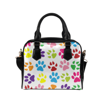 InterestPrint Colorful Paw Print Women's PU Leather Bag Handbag Purse