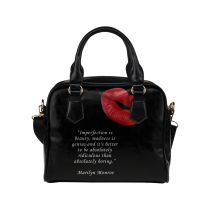 InterestPrint Famous Quotes Lips Women's PU Leather Shoulder Handbag Bag Purse