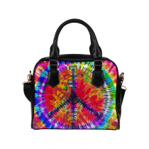 InterestPrint Peace Sign Tie Dye PU Leather Shoulder Bag Handbag Purse