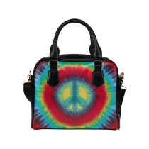 InterestPrint Tie Dye Peace Sign PU Leather Shoulder Bag Handbag Purse