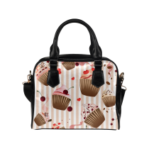 InterestPrint Cupcake Cherry Love Heart PU Leather Aslant Shoulder Bag Handbag Purse