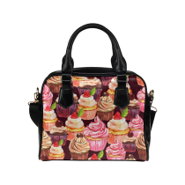InterestPrint Cupcake Strawberry PU Leather Shoulder Bag Handbag Purse