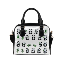 InterestPrint Cute Panda Bamboo Women's PU Leather Shoulder Bag Handbag Purse