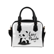 InterestPrint Cute Lazy Panda Women's PU Leather Shoulder Bag Handbag Purse