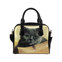 InterestPrint Lovely Hipster Cat PU Leather Aslant Shoulder Bag Handbag Purse