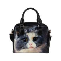 InterestPrint Hipster Cat PU Leather Aslant Shoulder Tote Handbag Bag