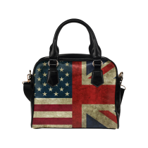 InterestPrint Vintage Union Jack American Flag USA PU Leather Shoulder Handbag Purse