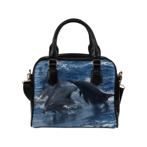 InterestPrint Summer Dolphin Ocean Women's PU Leather Shoulder Bag Handbag Purse