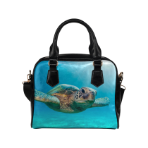 InterestPrint Ocean Sea Turtle PU Leather Shoulder Bag Handbag Purse