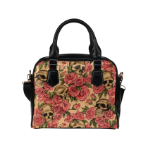 InterestPrint Pink Rose Sugar Skull PU Leather Shoulder Bag Handbag Purse
