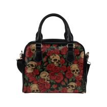 InterestPrint Red Rose Sugar Skull PU Leather Shoulder Bag Handbag Purse