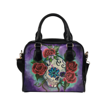 InterestPrint Floral Sugar Skull PU Leather Aslant Shoulder Bag Handbag Purse