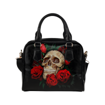 InterestPrint Sugar Skull Rose PU Leather Aslant Shoulder Bag Handbag Purse