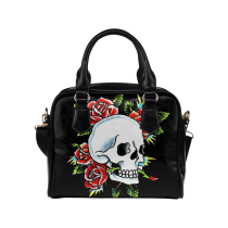 InterestPrint  Floral Sugar Skull PU Leather Shoulder Bag Handbag Purse