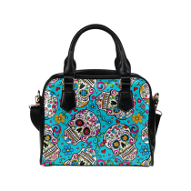 InterestPrint Sugar Skull Blue Floral Print PU Leather Shoulder Bag Handbag Purse