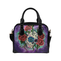 InterestPrint Sugar Skull Floral PU Leather  Shoulder Bag Handbag Purse