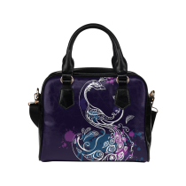 InterestPrint Purple Peacock Women's PU Leather Aslant Shoulder Bag Handbag Purse