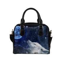 InterestPrint Wlof Nebula Moon Women's PU Leather Aslant Shoulder Bag Handbag Purse