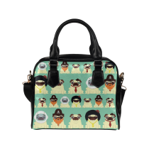InterestPrint Hipster Pug Puppy Dog Women's PU Leather Shoulder Handbag Purse
