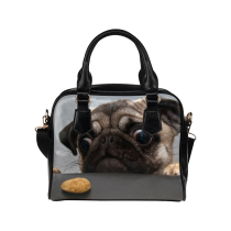InterestPrint Hipster Pug Puppy Dog Women's PU Leather Shoulder Bag Handbag Purse