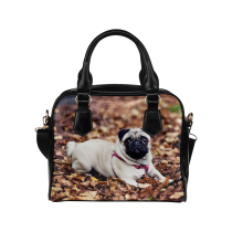 InterestPrint Pug Puppy Dog Leaf Women's PU Leather Shoulder Bag Handbag Purse