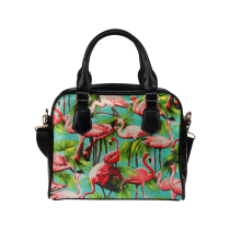 InterestPrint Summer California Palm Tree Flamingo Women's And Girl's PU Leather Shoulder Bag Handbag Purse