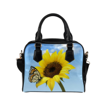 InterestPrint Sunflower Butterfly Flower Women's And Girl's PU Leather Shoulder Bag Handbag Purse