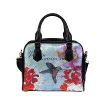 InterestPrint Retro Floral Bird Women's PU Leather Shoulder  Bag Handbag Purse