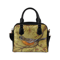InterestPrint Retro Floral Bird Women's And Girl's PU Leather Shoulder Bag Handbag Purse