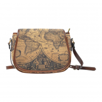 InterestPrint Retro World Map Saddle Crossbody Messenger Shoulder Bag Purse