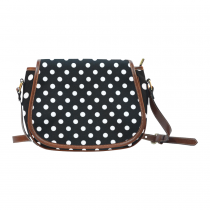 InterestPrint White and Black Polka Dot Saddle Crossbody Messenger Bag Purse