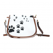InterestPrint White Dog Paw Print Saddle Crossbody Messenger Shoulder Bag