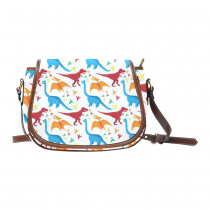 InterestPrint Cartoon Dinosaur Women's Waterproof Saddle Crossbody Messenger Bag Purse