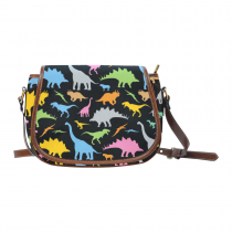 InterestPrint Black Cartoon Dinosaur Women's Waterproof Fabric Saddle Crossbody Messenger Bag Purse