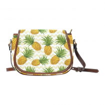 InterestPrint Pineapple Fruit Chevron Waterproof Saddle Crossbody Messenger Bag